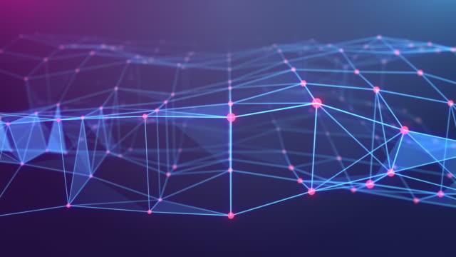 t futuristische technologie abstrakte hintergrund loopable animation, digitale design draht rahmen block shape linie verbindet mit punkt - digital composite stock-videos und b-roll-filmmaterial