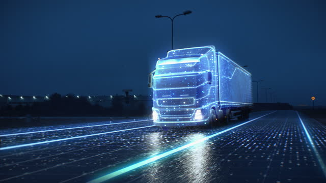 Futuristic Technology Concept: Autonomous Semi Truck with Cargo Trailer Drives at Night on the Road with Sensors Scanning Surrounding. Special Effects of Self Driving Truck Digitalizing Freeway Futuristic Technology Concept: Autonomous Semi Truck with Cargo Trailer Drives at Night on the Road with Sensors Scanning Surrounding. Special Effects of Self Driving Truck Digitalizing Freeway manufactured object stock videos & royalty-free footage