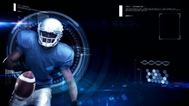 Futuristic technology tracking athletes movements video