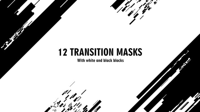 Video 12 futuristic transition masks. Abstract motion graphics and animated background with white and black block figures. Transition monochrome masks templates