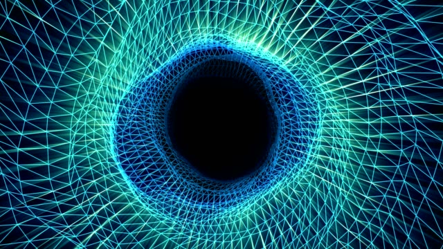 futuristic tunnel time travel on black hole - modalità wire frame video stock e b–roll
