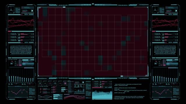 未来的ユーザーインターフェイス。vr のための仮想グラフィックタッチ ui。モーションデザインの hud インフォグラフィック要素 - 文字記号点の映像素材/bロール