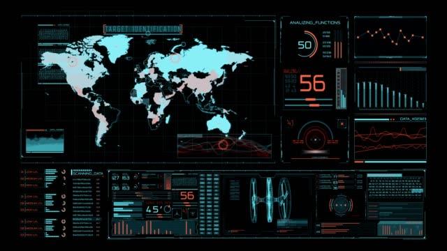 futuristiskt användar gränssnitt med hud och infographic element. - pekskärm bildbanksvideor och videomaterial från bakom kulisserna