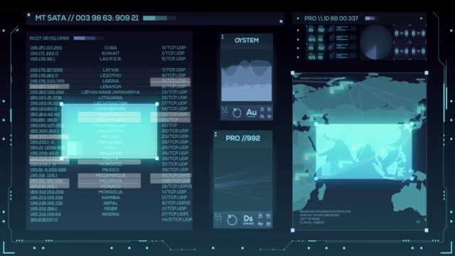 vídeos y material grabado en eventos de stock de interfaz de usuario futurista con hud y elementos infográficos - posición descriptiva