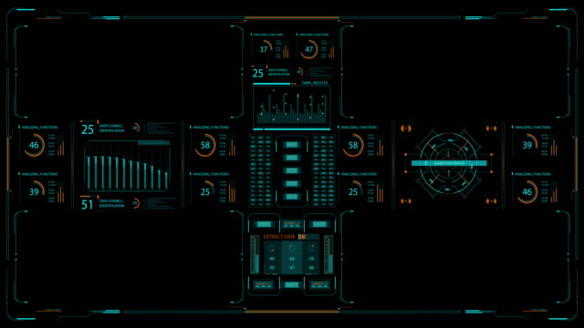Futuristic user interface with HUD and infographic elements video
