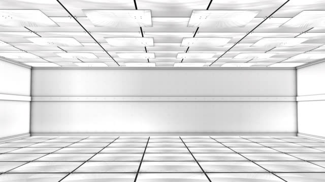 Futuristic White Room (3D) A futuristic room modeled in 3D. domestic room stock videos & royalty-free footage