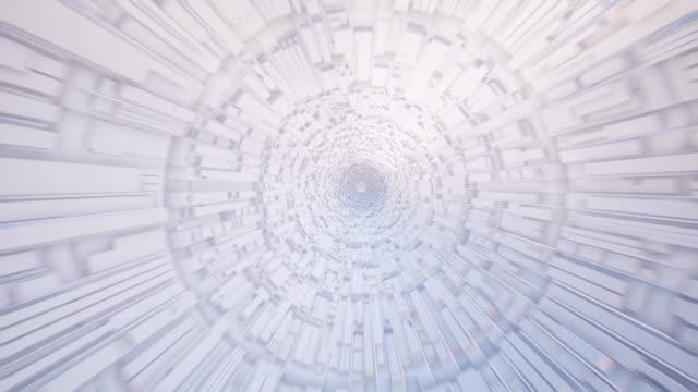 vídeos y material grabado en eventos de stock de futurista túnel blanco 3d rendered animación. corredor de ciencia ficción realista con elementos de diseño rectangularvolumétricos en el metraje de las paredes. concepto de arquitectura moderna. vídeo interior de tubo de alta tecnología - largo longitud