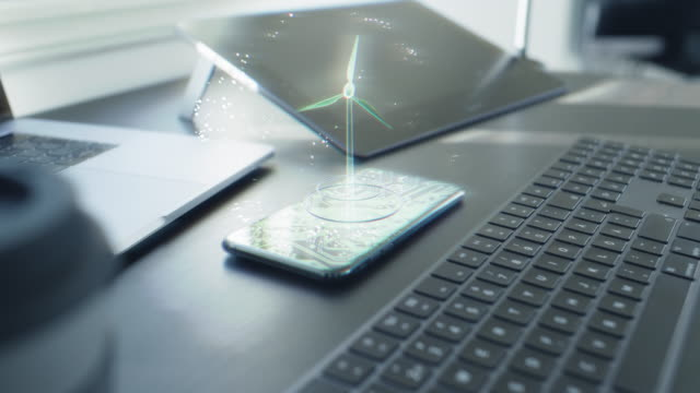 Futuristic Wind Turbine hologram on a smart phone