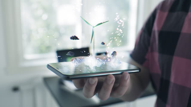 Futuristic Wind Turbine hologram on a smart phone