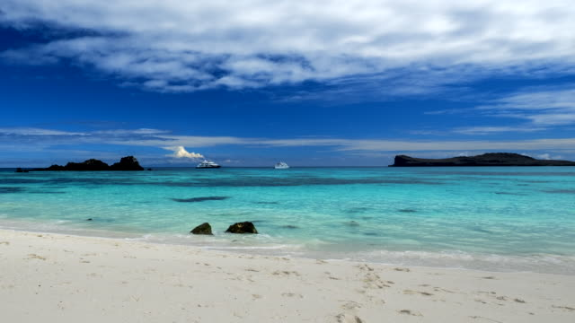 Galapagos white sand beach video