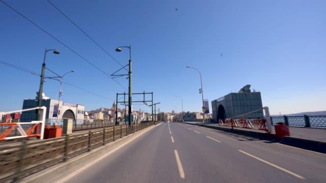 Galata Bridge From Istanbul Turkiye at Pandemic curfew covid 19.