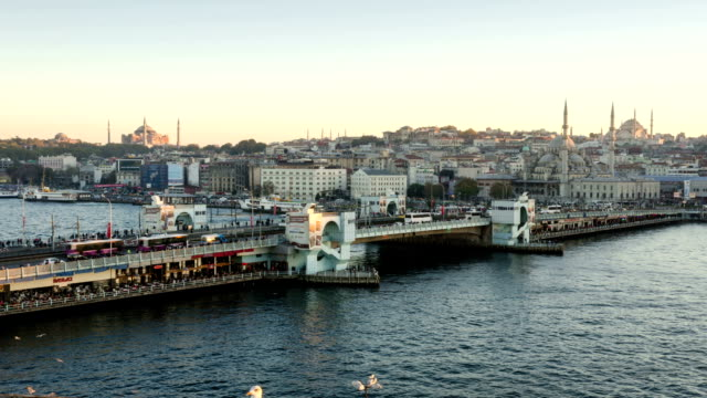 TIME LAPSE: Galata Bridge Istanbul aerial view sunset video