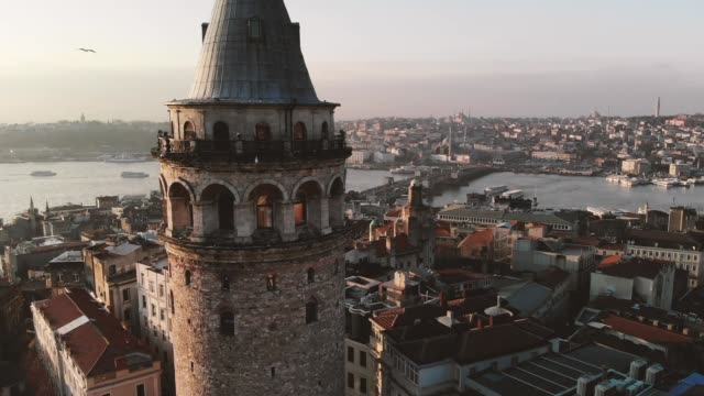 galata istanbul drone galata kulesi turkey stock videos & royalty-free footage