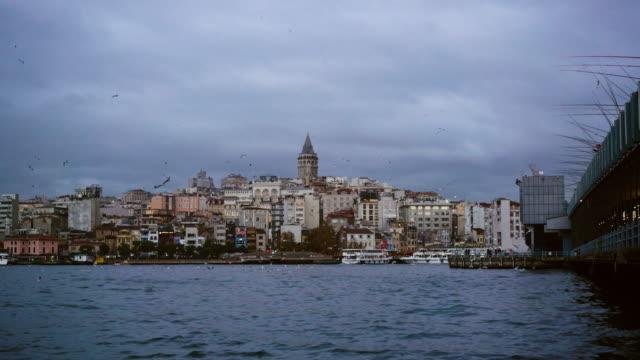 Galata Tower and Istanbul Karakoy Harbor from Eminonu