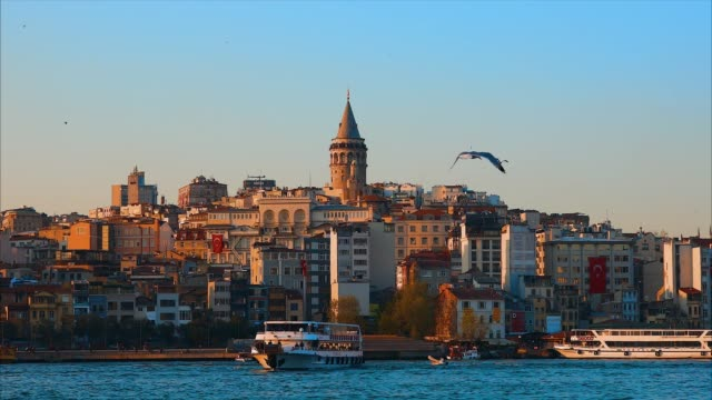 Galata Tower in istanbul City of Turkey.  View of the Istanbul City of Turkey with bosphorus, seagulls and boats. Istanbul or constantinople city of Turkey istanbul stock videos & royalty-free footage
