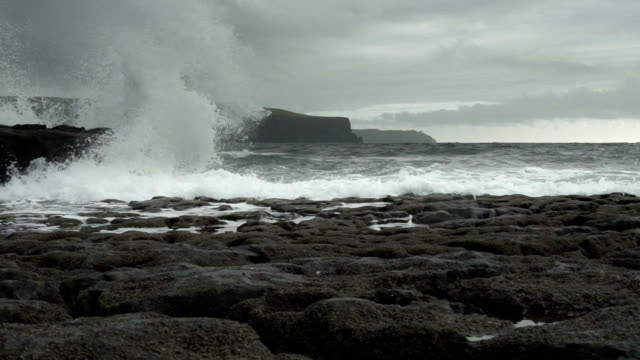 SLO MO Gale Waves At Doolin Coast And Cliffs Of Moher video