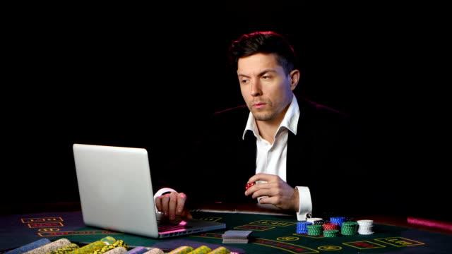 Gambling in online casino. Close up video