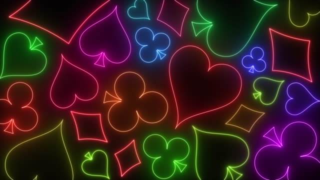 gambling neon background with decks hearts, tiles, clovers, pikes