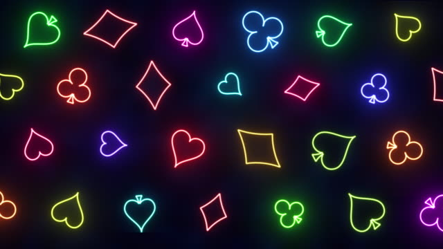 gambling neon background with pattern from play cards gambling neon background with pattern from play cards decks hearts, tiles, clovers, pikes shamrock stock videos & royalty-free footage