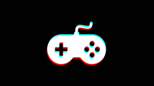 GamController joystick epad Game icon Vintage Twitched Bad Signal Animation.
