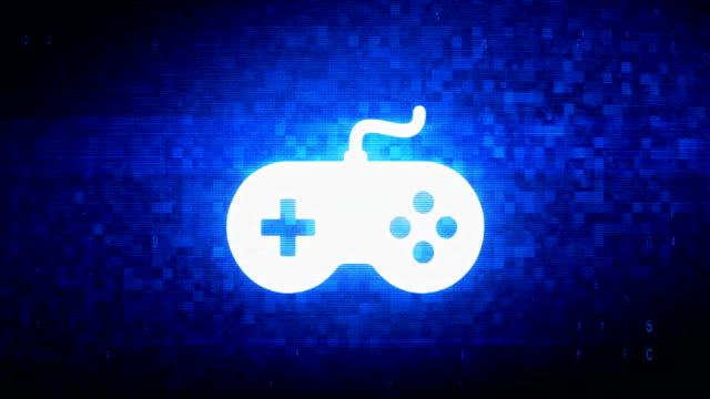 GamController joystick epad Game Symbol Digital Pixel Noise Error Animation.