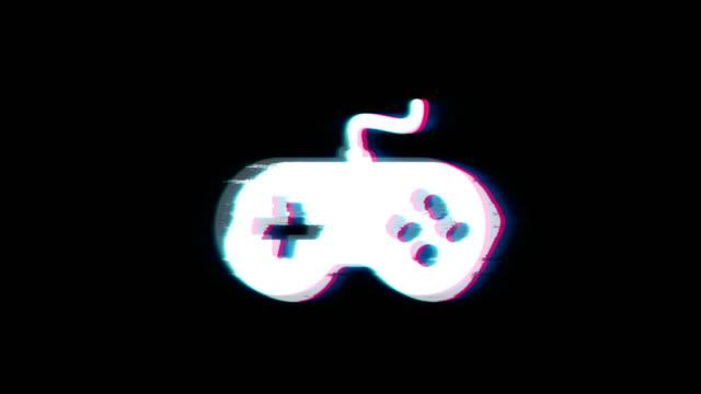 GamController joystick epad Game Symbol on Glitch Retro Vintage Animation.