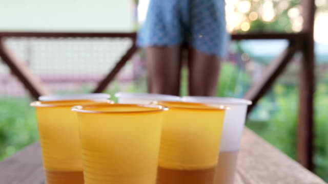 game beerpong on the terrace in summer - beirut video stock e b–roll
