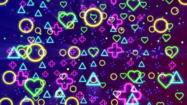 Game Icons, Party Neon, Valentine's Day, Hugs and Kisses, Hearts Animation Background (Loopable)