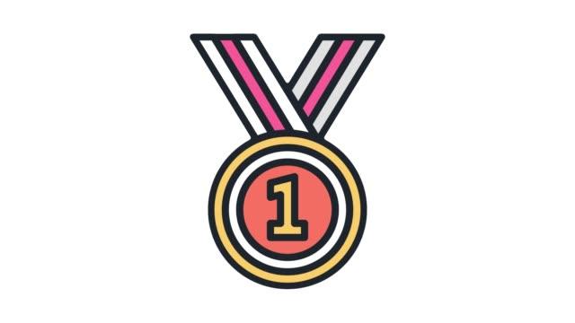 vídeos de stock e filmes b-roll de game level success line icon animation with alpha - badge