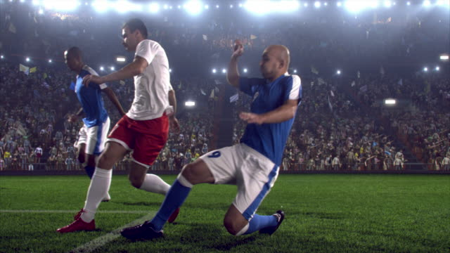 Game moment during soccer game on professional stadium video