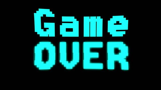 spiel über glitching 80er jahre stil arcade-maschine - comic font stock-videos und b-roll-filmmaterial