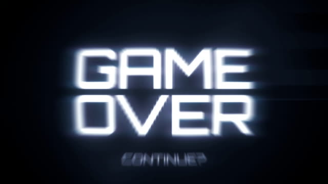 Game Over - Retro Video Game Menu A retro looking video game screen. Noisy, flickering and with a soft blur and a bulge like old television sets.  The title is slowly getting closer. Video still is able to loop.  video game stock videos & royalty-free footage