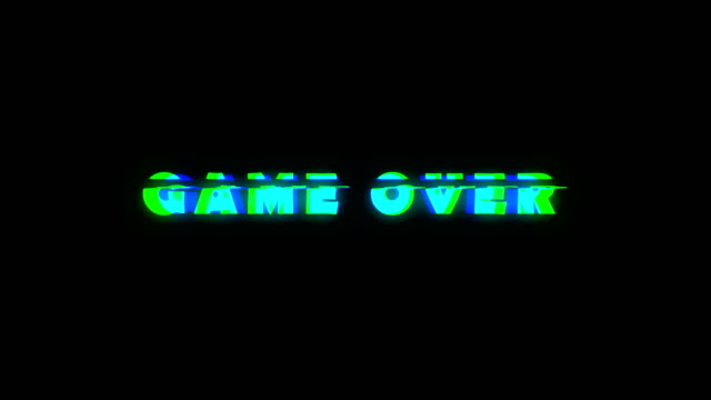 Game over text with bad signal. Glitch effect Game over text with bad signal. Glitch effect. Seamless loop death stock videos & royalty-free footage