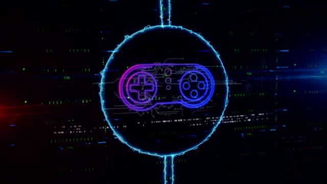 Game pad symbol hologram in electric circle