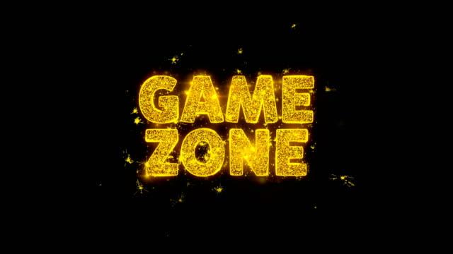 vídeos de stock e filmes b-roll de game zone text sparks particles on black background. - badge