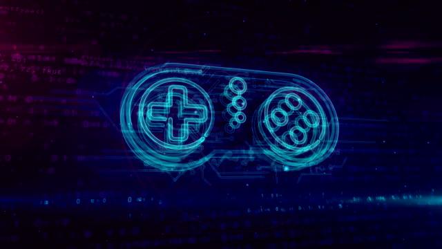 gamepad controller hologram loop concept - telecomando background video stock e b–roll