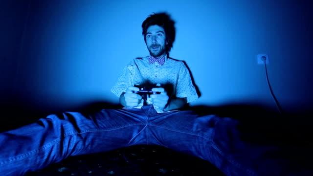 Gamer Nerd Playing Video Games on TV video