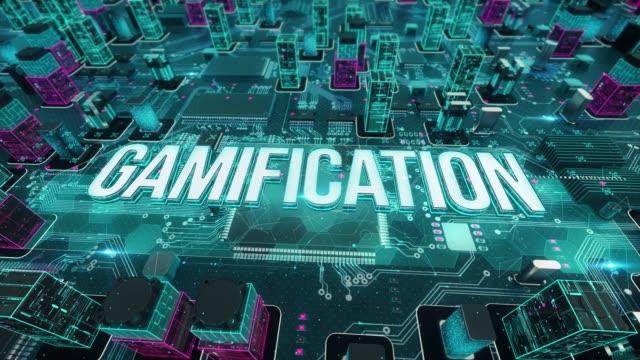 vídeos de stock, filmes e b-roll de gamificação com conceito de tecnologia digital - distintivo