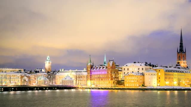 Gamla Stan Old town Stockholm City Sweden at dusk panning video