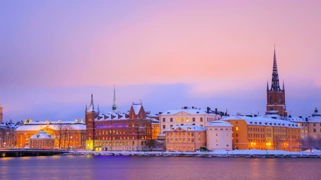 Gamla Stan Old town Stockholm City Sweden at dusk Zoomout video