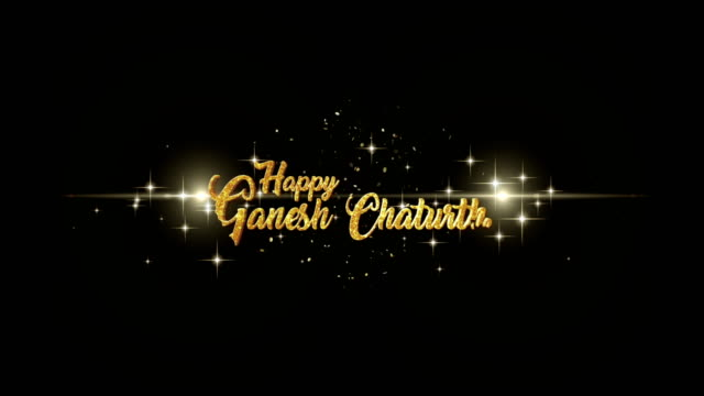 Ganesh Chaturthi Beautiful golden greeting Text Appearance from blinking particles with golden fireworks background. video