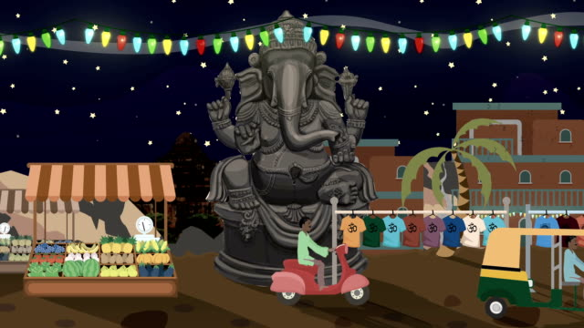 Ganesha Statue with Rickshaws Passing by at Night in a Street in India Cartoon Style video