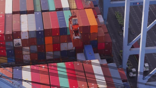 Gantry Crane Moving Cargo Container from Ship to Shore video