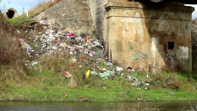 garbage along river - pet bottles bildbanksvideor och videomaterial från bakom kulisserna
