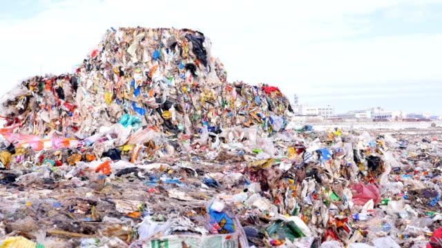 Garbage dump, landfill, junkyard, city dump. Dolly shot. video