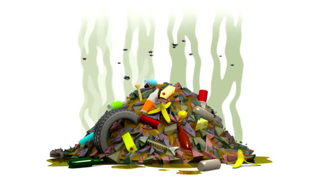 Garbage dump with flies. 3D animation in cartoon style. Alpha channel, loopable. video