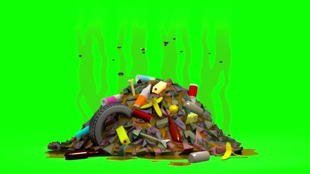 vídeos de stock e filmes b-roll de garbage dump with flies. 3d animation in cartoon style. green screen, loopable. - cheiro desagradável