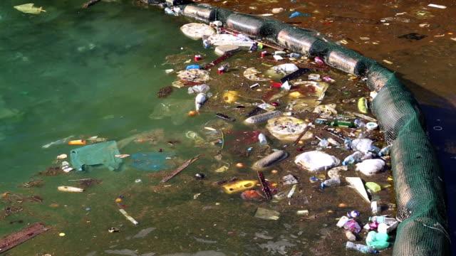 ゴミの海で漂う付近の沿岸ます。乱用の環境 - 水に浮かぶ点の映像素材/bロール