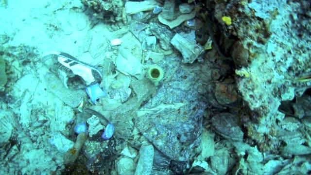 Garbage pile on the ocean floor video