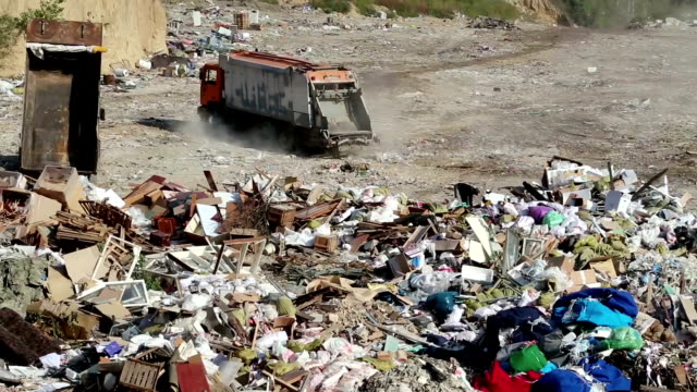 Garbage truck on the dump video